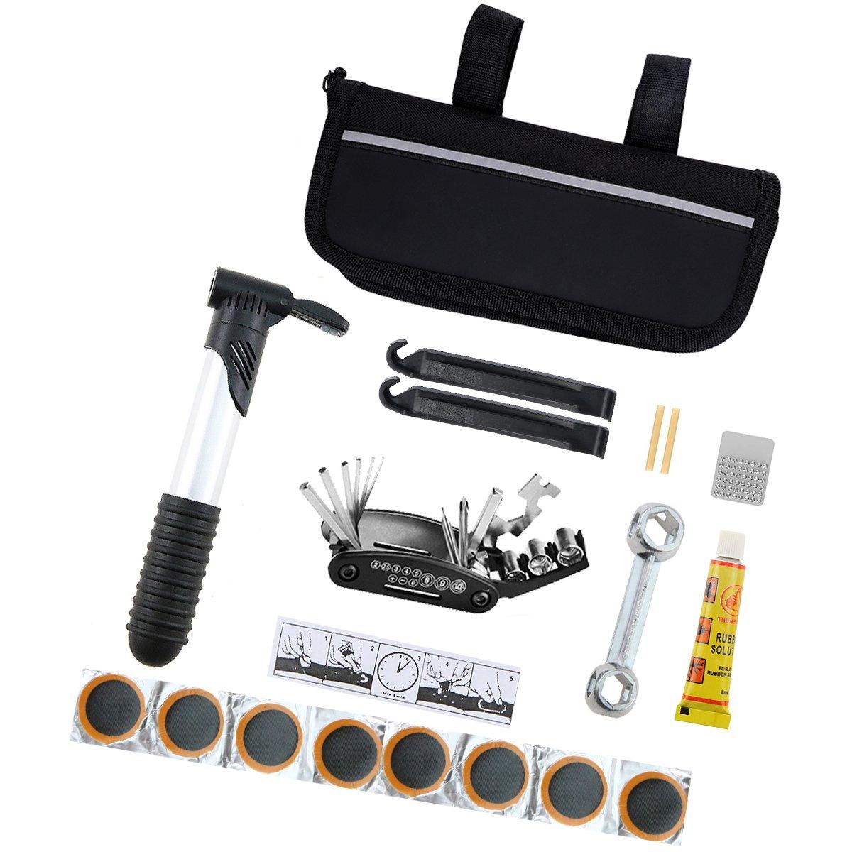 Black Mini Bicycle Repair Tool Kit Multi-Functional Bicycle Maintenance Tools With Handy Bag With Tire Repair, Pump, Repair wrench