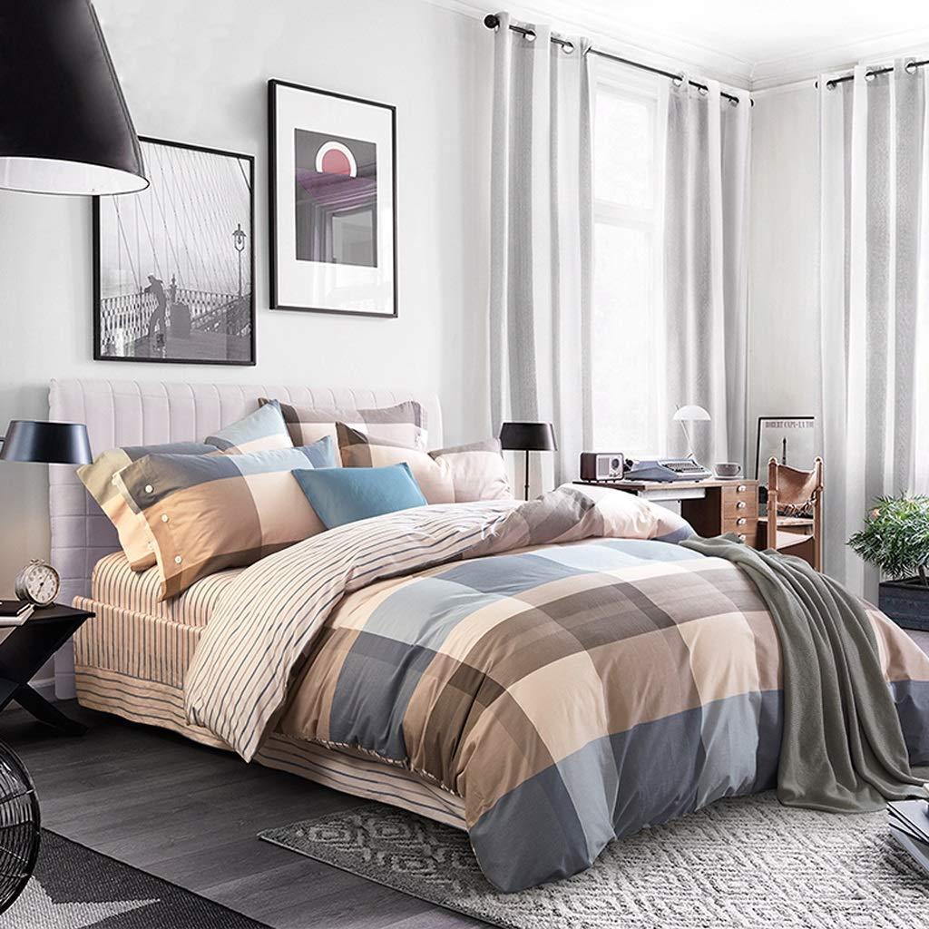 4ピース綿100%シーツカジュアルなブラウンチェック柄プリントシーツセット寝具-居心地の良いホームファッション寝具セット-超ソフトマイクロファイバー女の子寝具-キングサイズ (サイズ : 小さい)  小さい