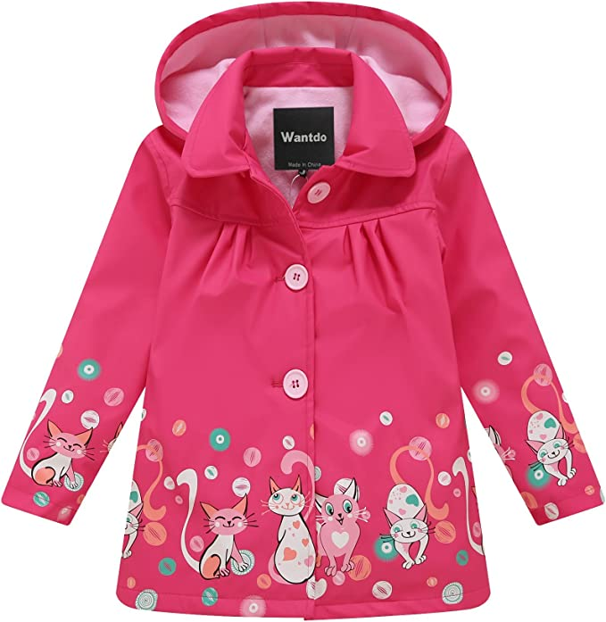Wantdo Girl's and Boy's Fleece Lined Cats Printing Raincoat Breathable Hooded Rain Jacket Windbreaker Trench Coat(Rose Red,5-6Y)