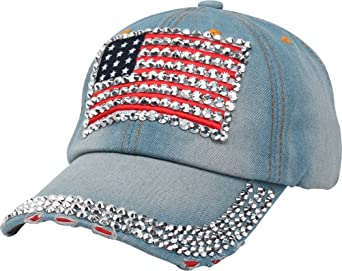 Foxhound America Flag Baseball Hat Adjustable Jeans Cap Dad Hat