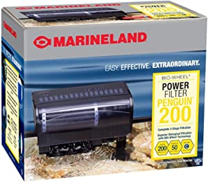 Marineland Penguin Power Filter Certified flow rate of 200GPH, perfect for aquariums up to 50-gallon