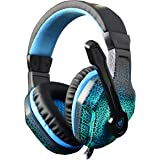 NUBWO NO3000 PC Headsets Compatiable with PS4 PC Computer Game and LED Lighting Over-Ear Headphone Headset Headband Adjustable Mic and Noise Cancelling Volume Control (Black)