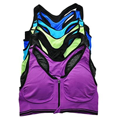 ToBeInStyle Women's 6 Pack Wirefree Seamless Sports Bra with Front-Zip Closure at Women's Clothing store