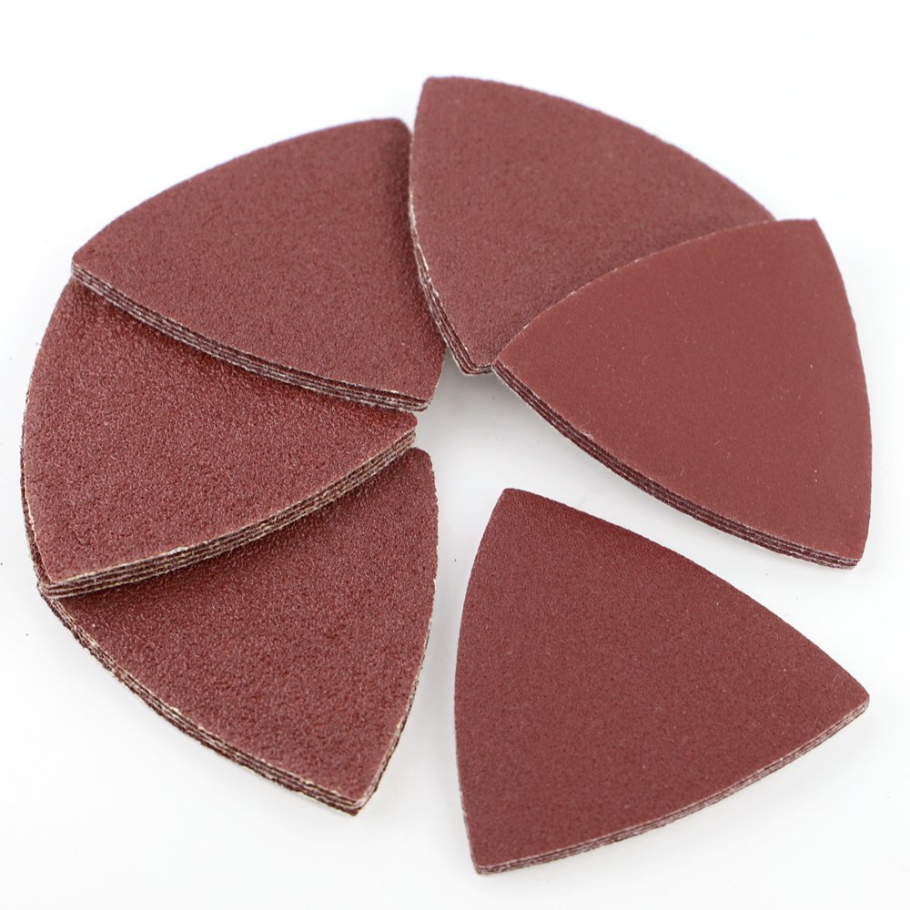 Coceca 60 Pcs Triangular Hook /& Loop Multitool Sandpaper for Wood Sanding Fit 3-1//8 Inch Oscillating Multi Tool Sanding Pad