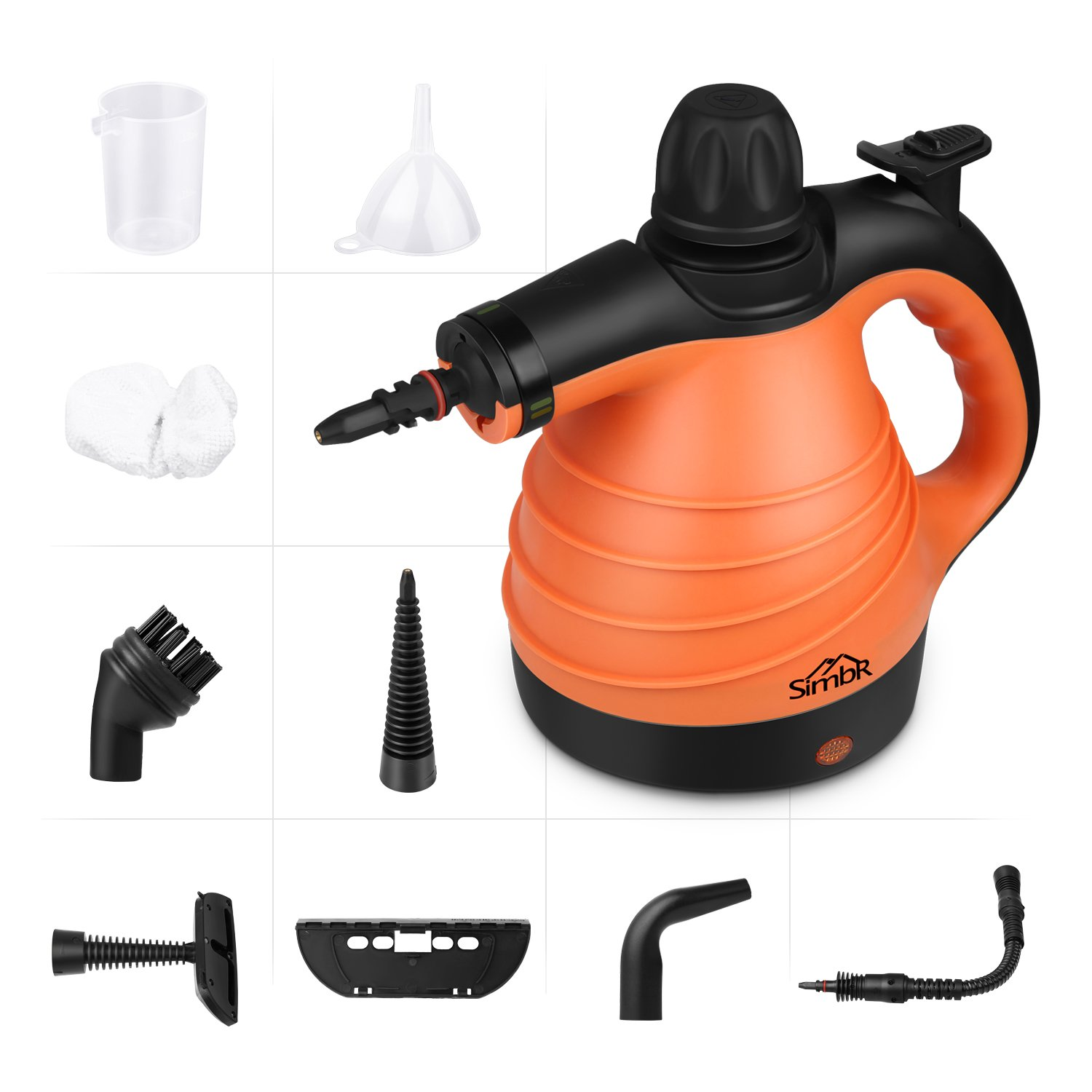 SIMBR Handheld Steam Cleaner, Multi-Purpose Pressurized Steamer 1050W with 9 Accessories for Stain Removal, Carpets, Curtains, Car Seats, Kitchen, Bathroom and More