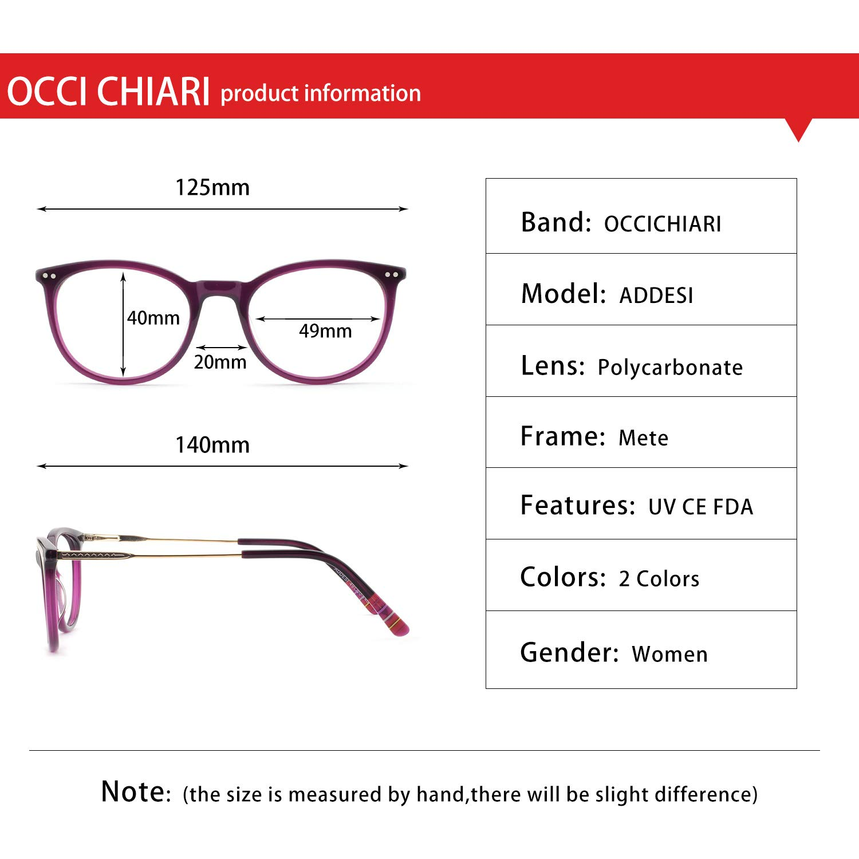 OCCI CHIARI Fashion Eyeglasses Frame Non Prescription Eyewear Women Men Clear lenses Glassees