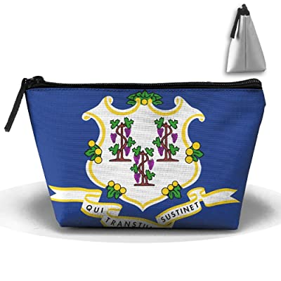 HTSS Flag Of Connecticut Portable Makeup Receive Bag Storage Large Capacity Bags Hand Travel Wash Bag