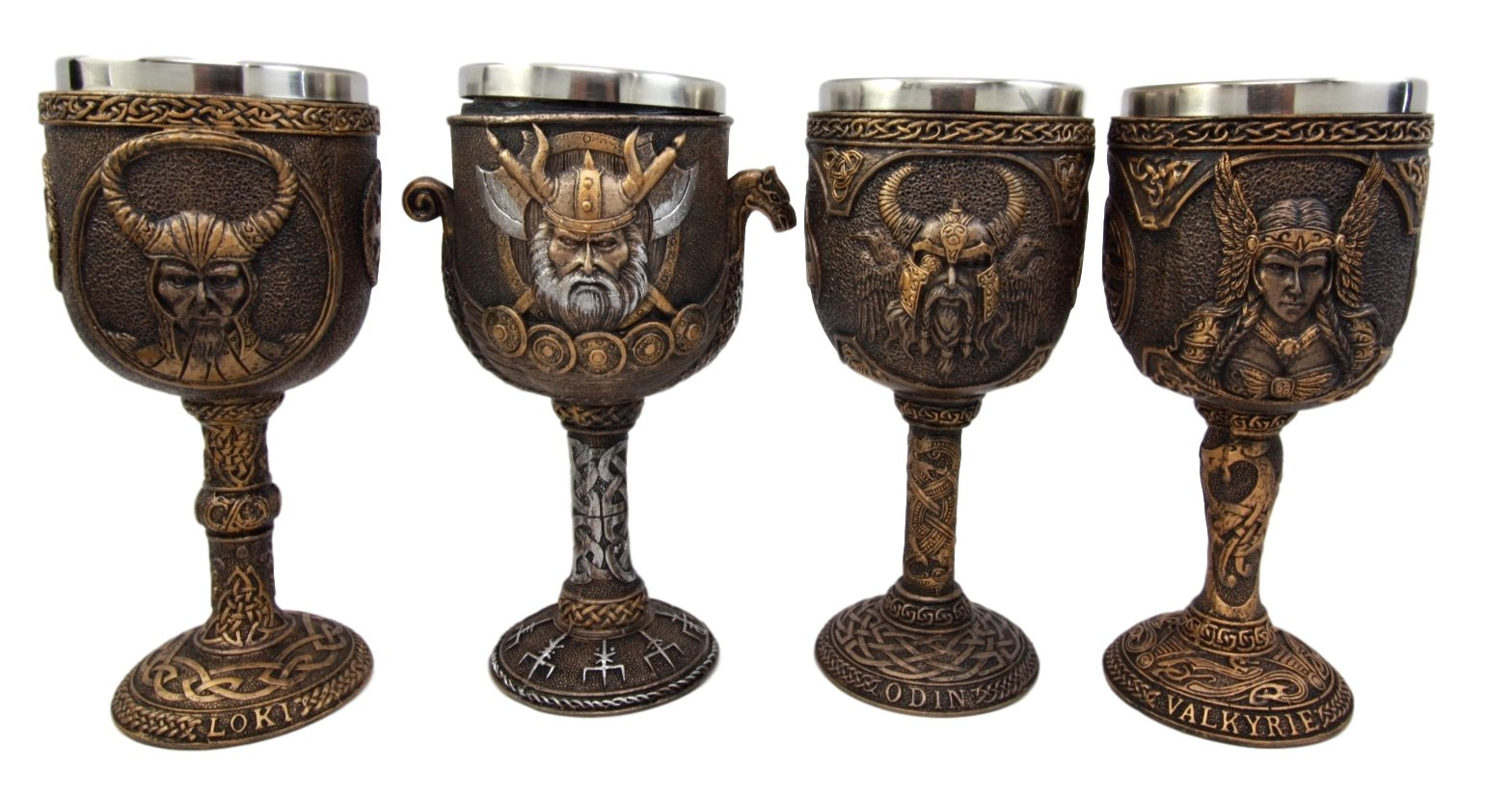 Atlantic Collectibles Norse Mythology Viking Deities Odin Valkyrie Loki Battle Longship 7oz Resin Wine Goblet Chalice Set of 4 With Stainless Steel Liner