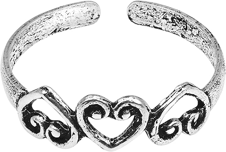 .925 Sterling Silver Sweet Hearts Toe Ring New