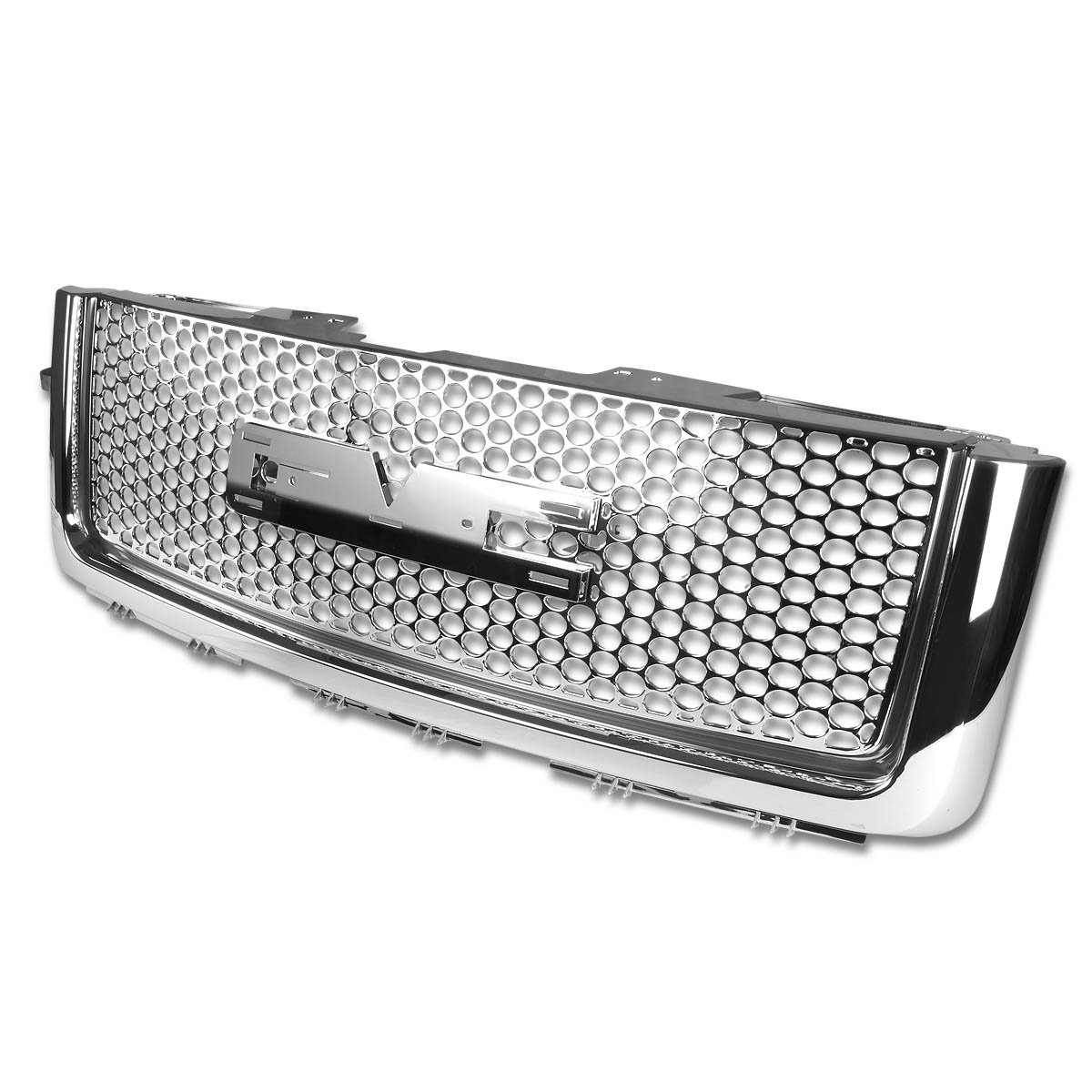 For GMC Sierra Denali ABS Plastic Round Mesh Front Bumper Grille (Chrome) - 2nd Gen GMT900/902 by Auto Dynasty