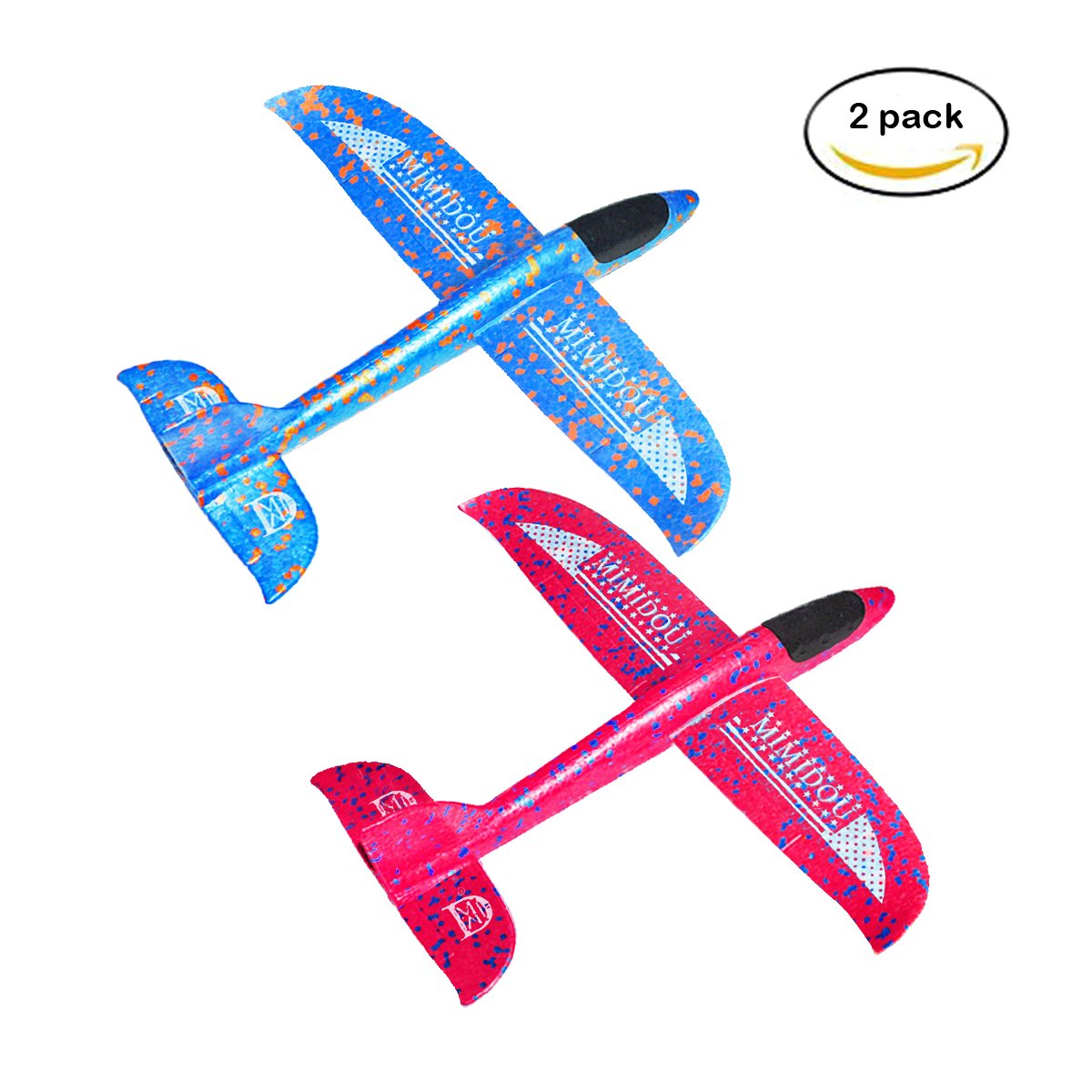 MIMIDOU New Aerobatic Airplane 2 flight mode 2 pack glider plane throwing foam aircraft outdoor sports flying toy for kids as gift,by