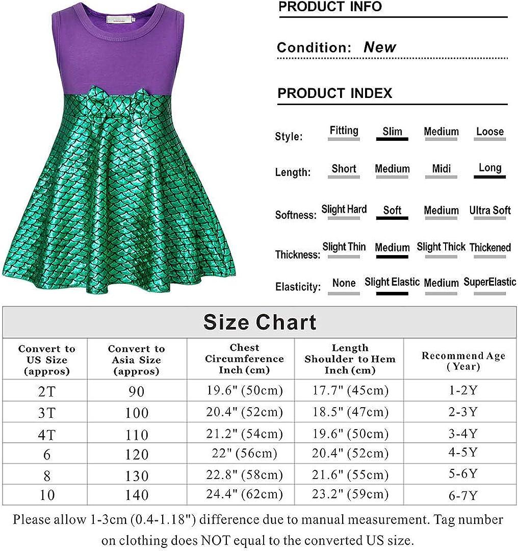 WonderBabe Little Mermaid Dress Girls Birthday Cosplay Party Sleeveless Princess Costume 1-10 Years