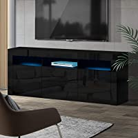 Artiss TV Unit 160cm Length Entertainment Unit High Gloss TV Cabinet Stand Cupboard, Black