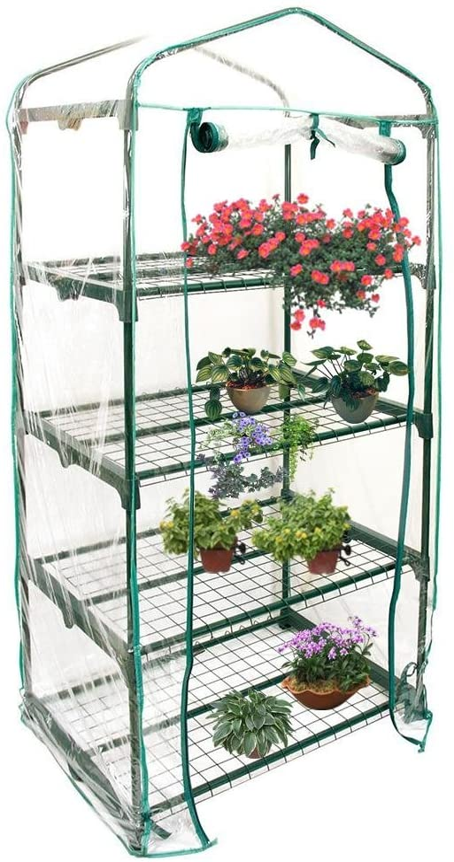 Mini invernadero de PVC de 4 niveles, cubierta transparente para plantas domésticas con cremallera | Carpa de jardín cálida para semillas de interior al aire libre Cultivo (marco no incluido)