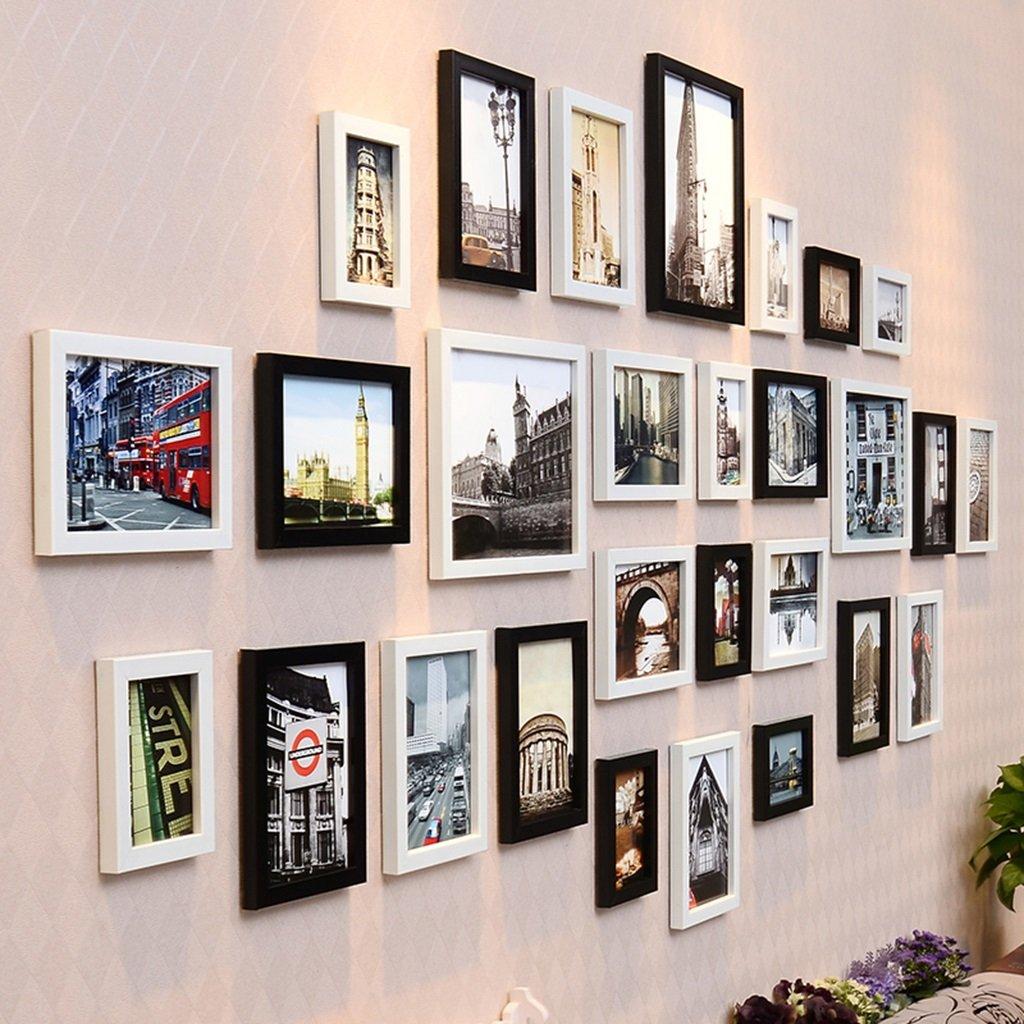 ZYANZ Irregular Wood Combination Photo Frame, Rectangular (28 Package), Estimated Area Of 230 × 92cm