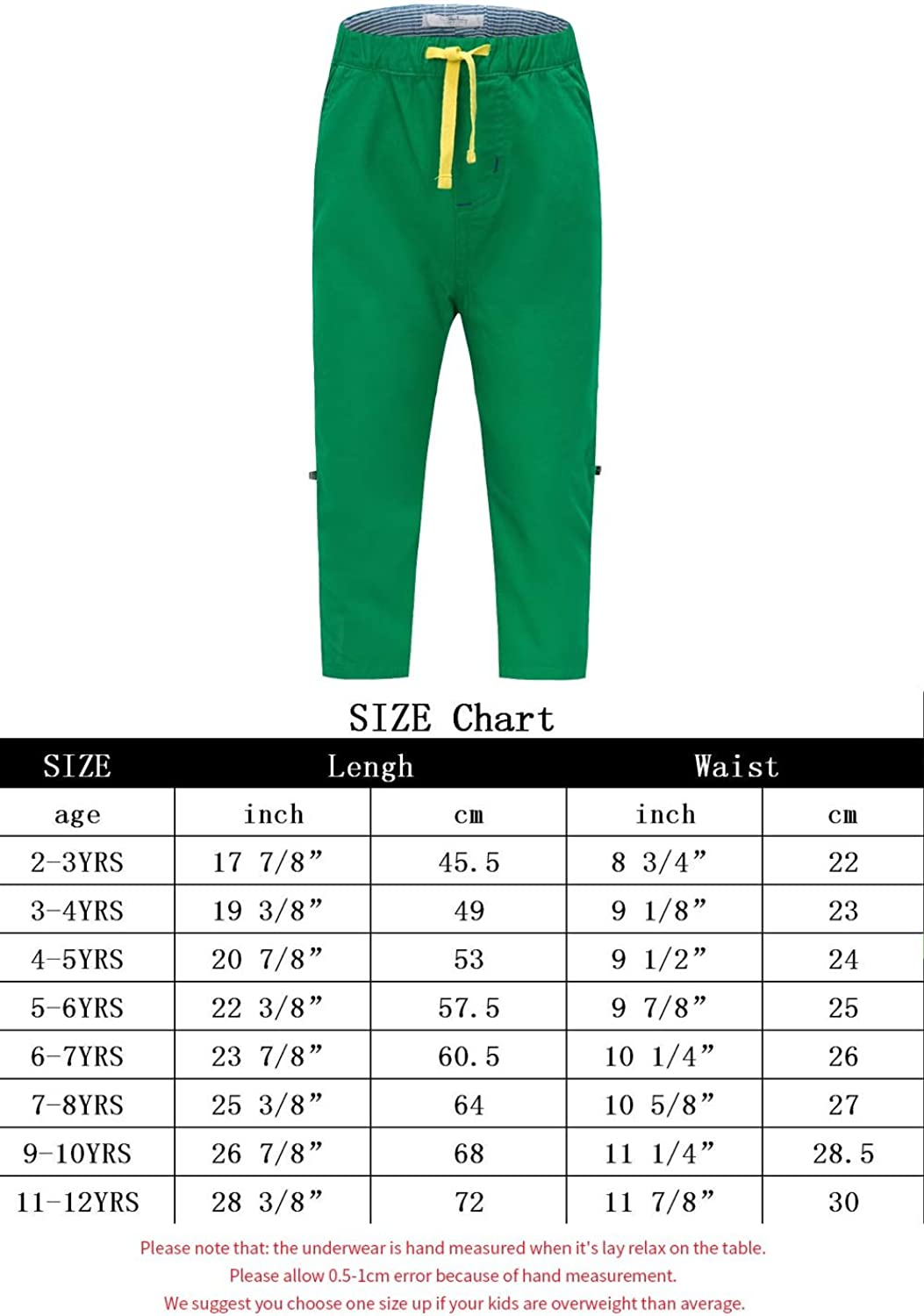 Gorboig Toddler Boys Knee Pull On Catton Pants Kids Childrens Casual Trousers