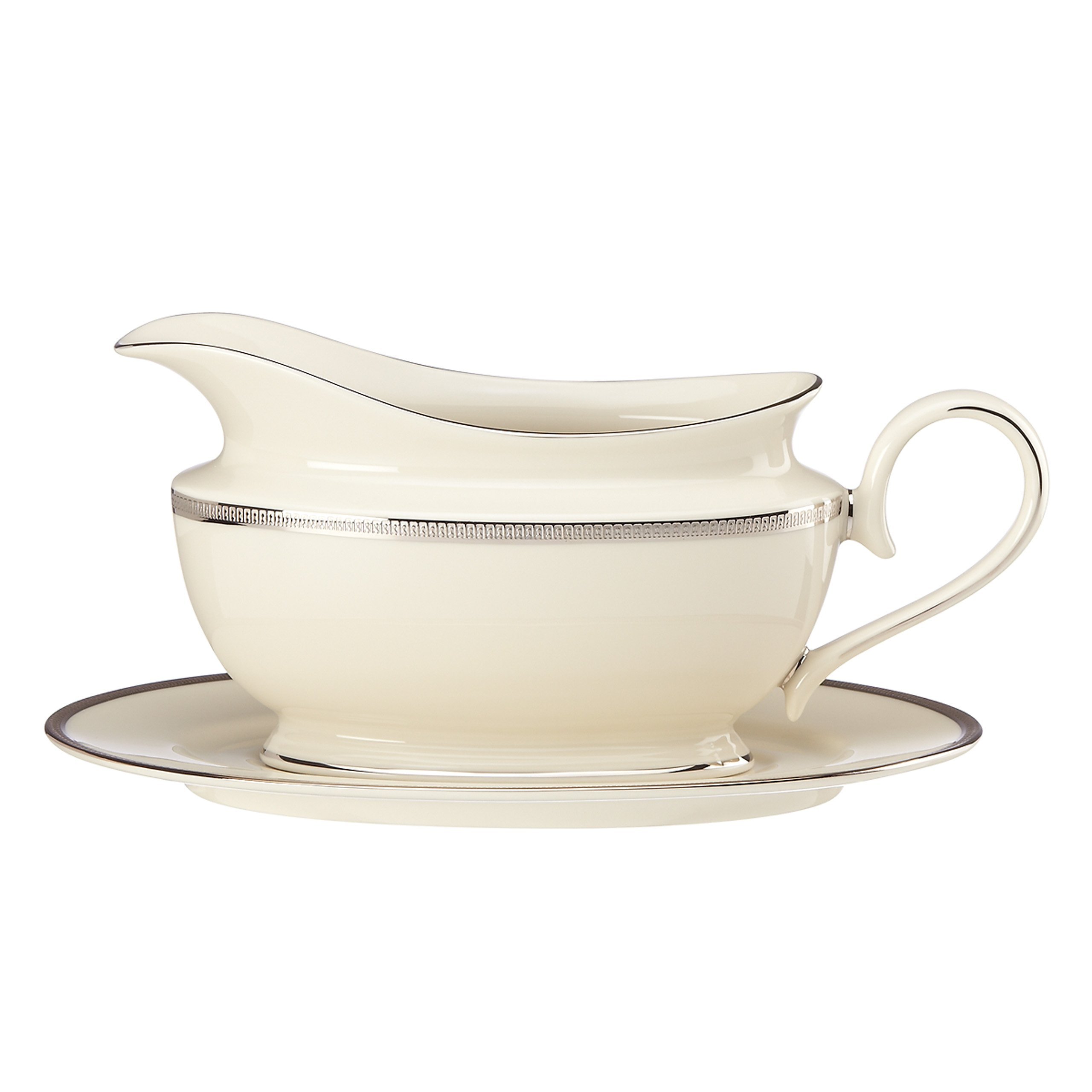 Lenox Tuxedo Platinum Sauce Boat and Stand, Ivory by Lenox (Image #1)