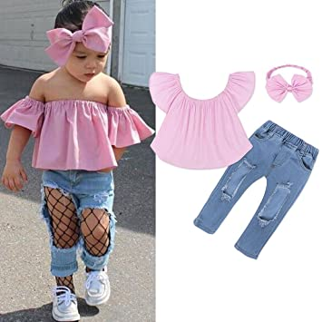 639a230cf4e Image Unavailable. Image not available for. Color  Shaoge Baby Girls Kid  Off Shoulder Ruffle Tops Denim Pants Bowknot Headband Set Summer Cool  Outfits