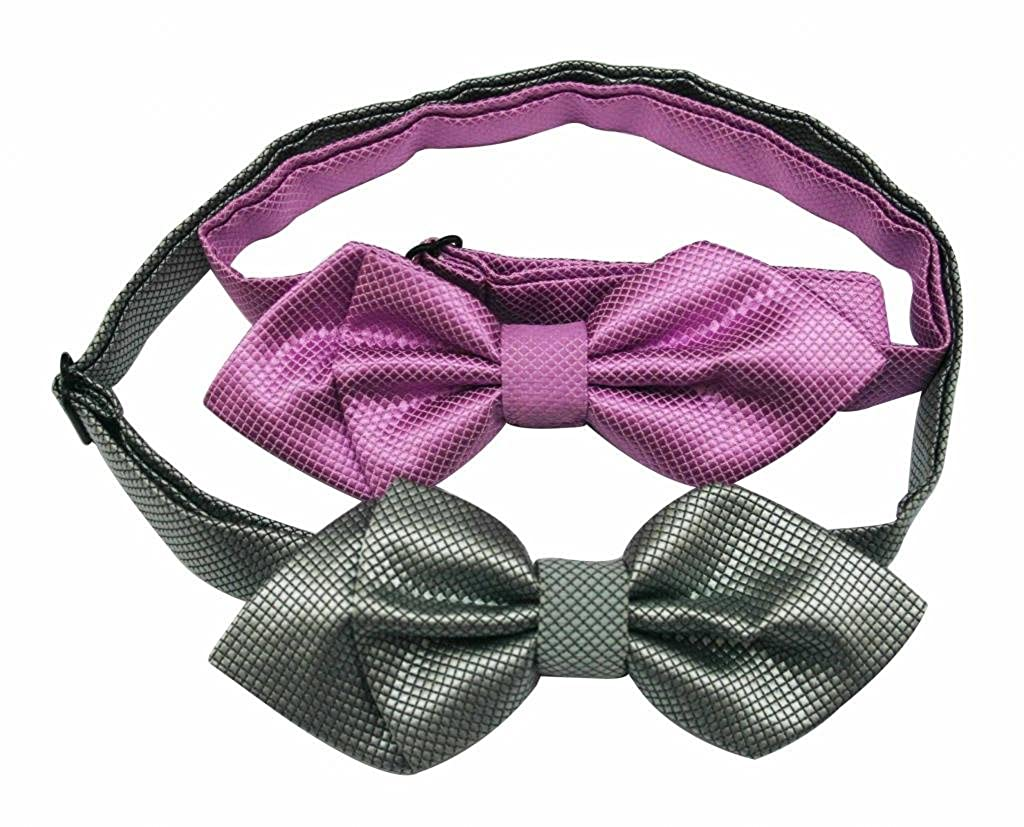 No Brand Mens Polyester Bow Tie Angle Snakeskin Purple Deep Gray Pack Of 2