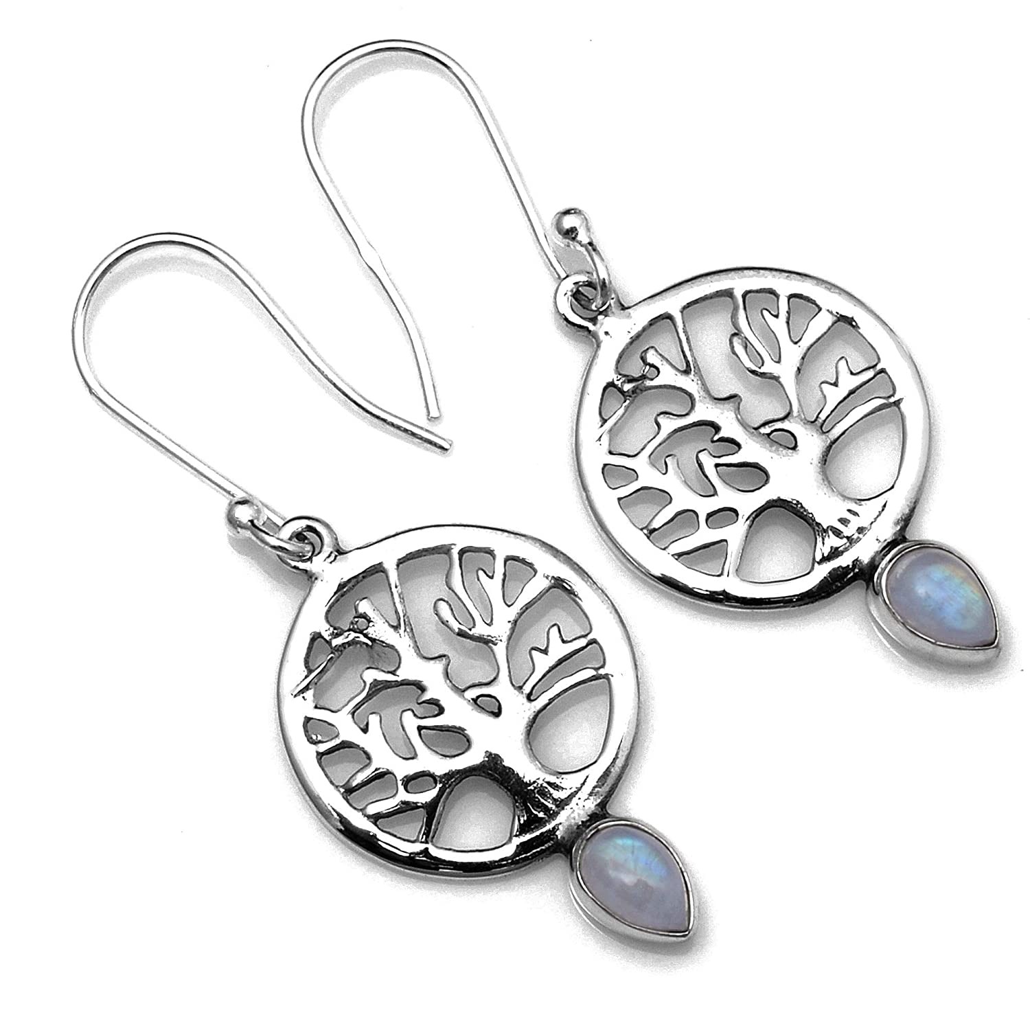 Silver Palace Sterling Silver Handmade Rainbow Moonstone Earrings for Womens and Girls