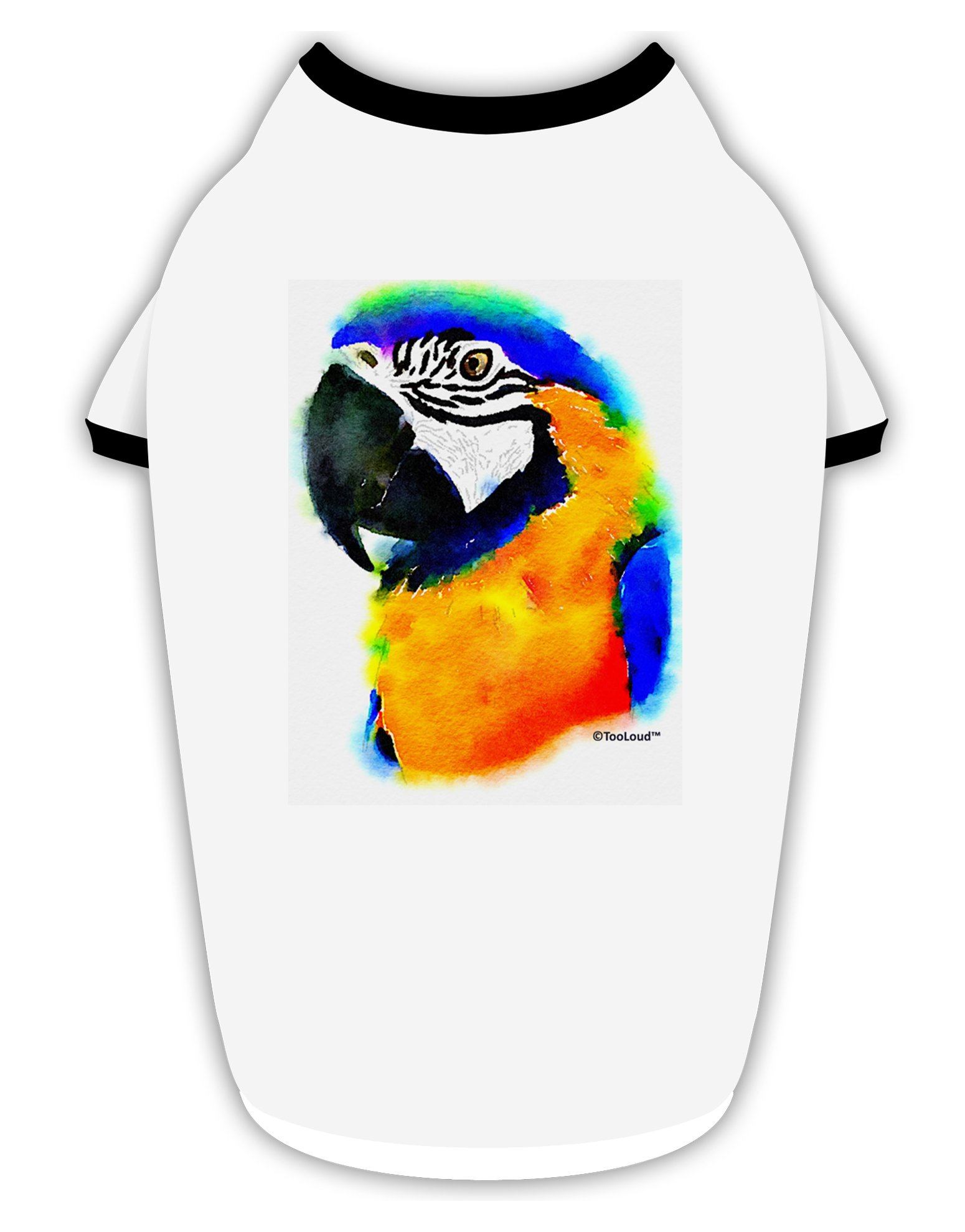 TooLoud Brightly Colored Parrot Watercolor Cotton Dog Shirt White with Black XL by TooLoud