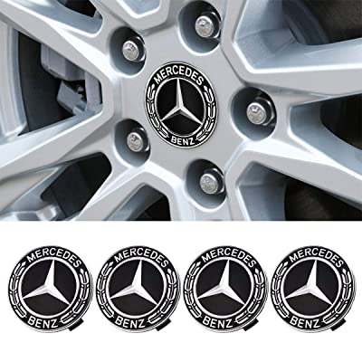 Wall Stickz car Sales Mercedes Set of 4 Dark Blue Center Wheel HUB CAPS 75 MM Cover Chrome Emblem (fit Benz 75mm): Automotive