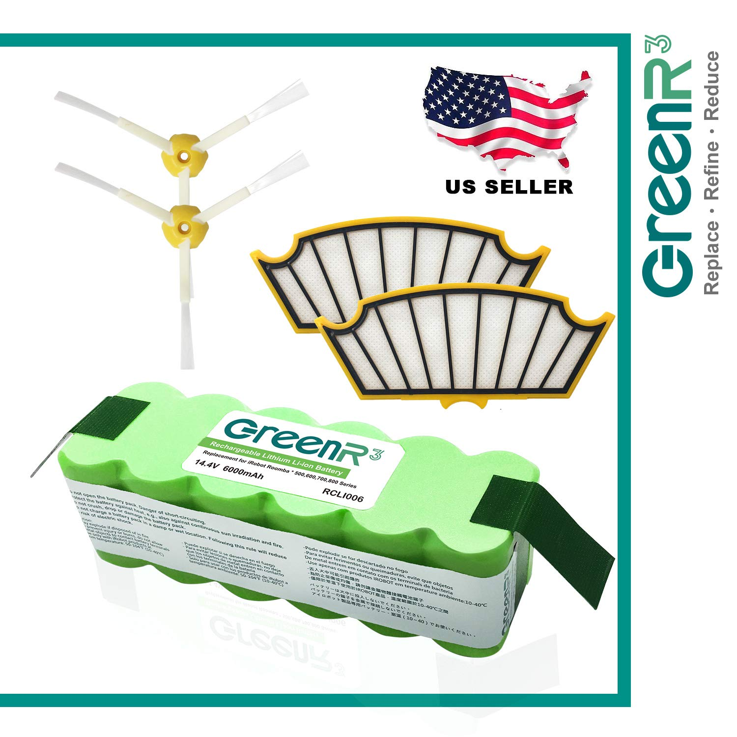 GreenR3 Lithium Battery Air Filters Brush iRobot 80601 81502 Fit ROOMBA 510 530 535 540 550 560 570 580 610 630 660 562 581 582 511 531 532 533 536 537 545 551 561 563 564 571 577 578 585 611 KIT
