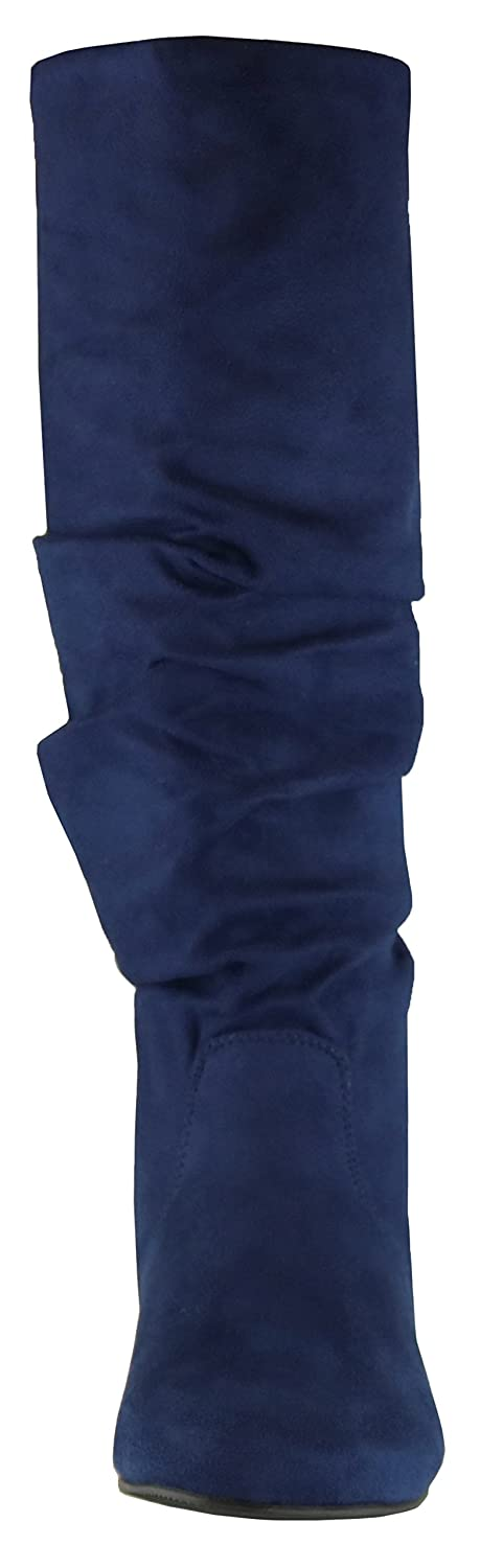 Cambridge Select Womens Round Toe Slouchy Knee-High Flat Boot
