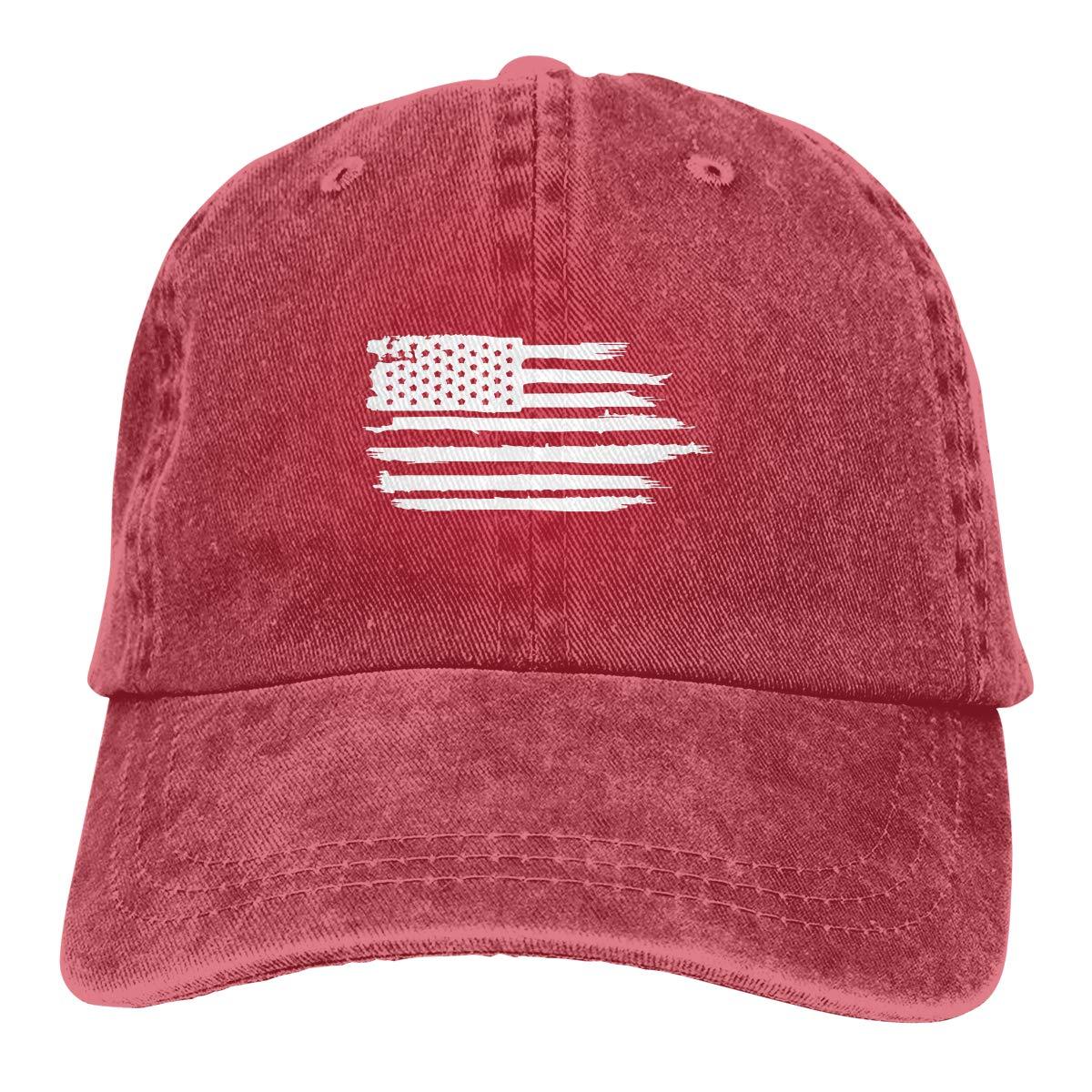Sajfirlug Distressed White USA Flag Fashion Adjustable Cowboy Cap Baseball Cap for Women and Men
