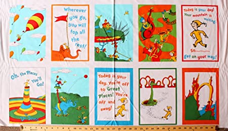 245 X 44 Panel Oh The Places Youll Go Dr Seuss Celebration White