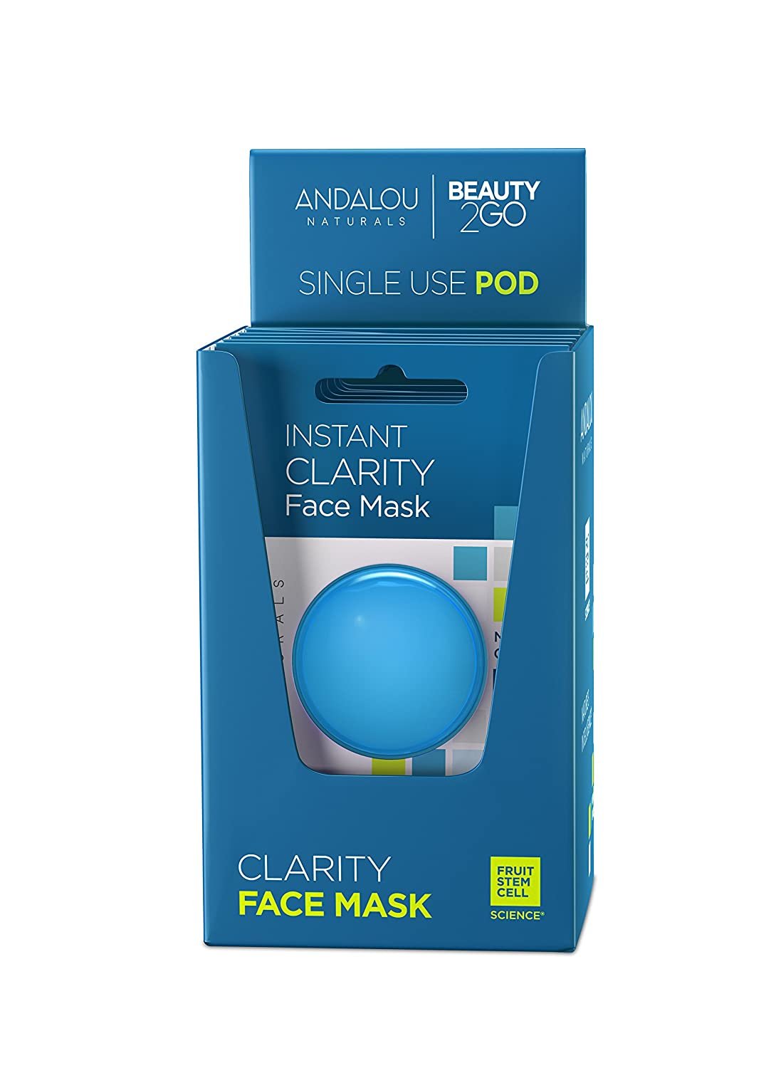 Andalou Naturals Instant Clarity Argan Oil & Blue Clay Mask Pod, Single Face Mask, 0.28 Ounce (Pack of 6)