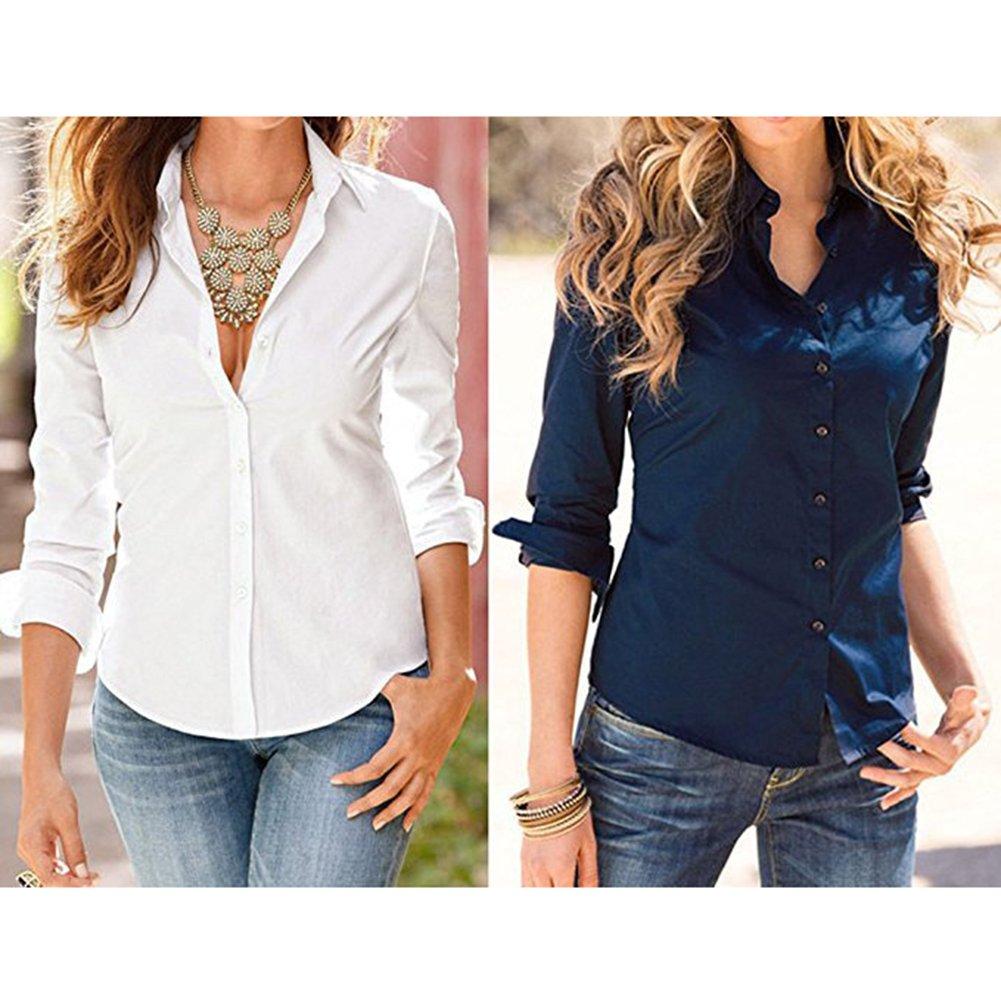 Camisas Mujeres Tops Mangas Largas Camisas Botones Blusas Moda Otoño Camisetas Casual Camisas Oficina Damas Trabajo Diario Negocios Blanco Negro Rosa Rojo ...