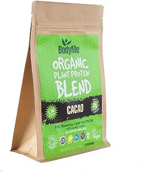 BodyMe Mezcla de Proteína Vegana Orgánica | Cacao Crudo | 250g Polvo | NO AZUCARADA Con 3 Proteínas Vegetales