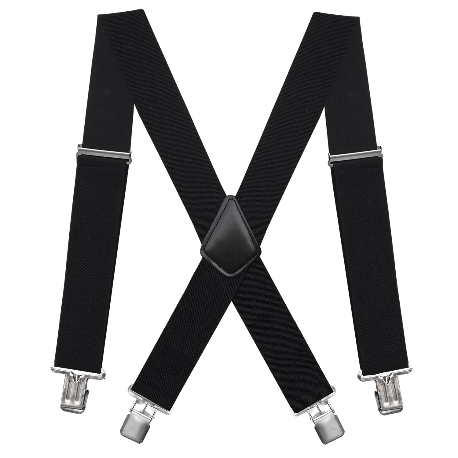 Fasker Mens Suspenders X-Back 2'' Wide Adjustable Solid Straight Clip Suspenders