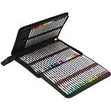 BTSKY Portable Canvas Zippered Colored Pencil Case-Super Large Capacity 72 Slot Pencil Bag Pouch for Watercolor Pencils…