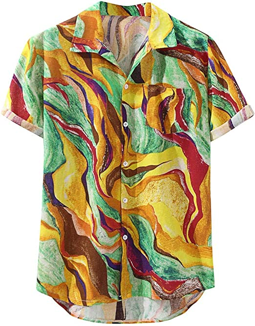 LOOKAA Hawaiian Shirt for Mens Hawaiian Pocket Short Sleeve Round Hem Loose Shirts Print Linen Blouse