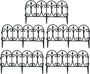 """5Pcs Decorative Garden Fence, 23.6""""x 13"""" Landscape Plastic Fencing, Movable Decorative Border, Portable Border Picket Folding Decor for Outdoor Landscape Patio Vinyl Flower"""