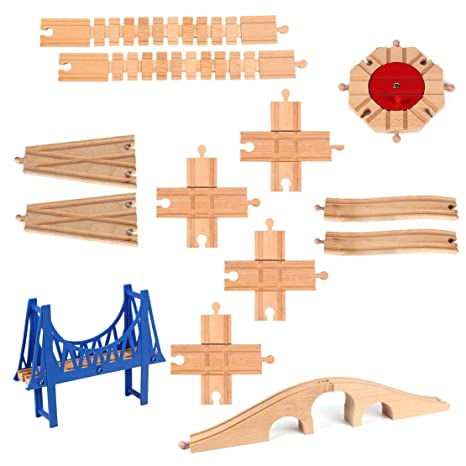 13 Pieces Wooden Railway Train Track Expansion Set Toy For Kids 8 Ways Turntable Bridges Switch