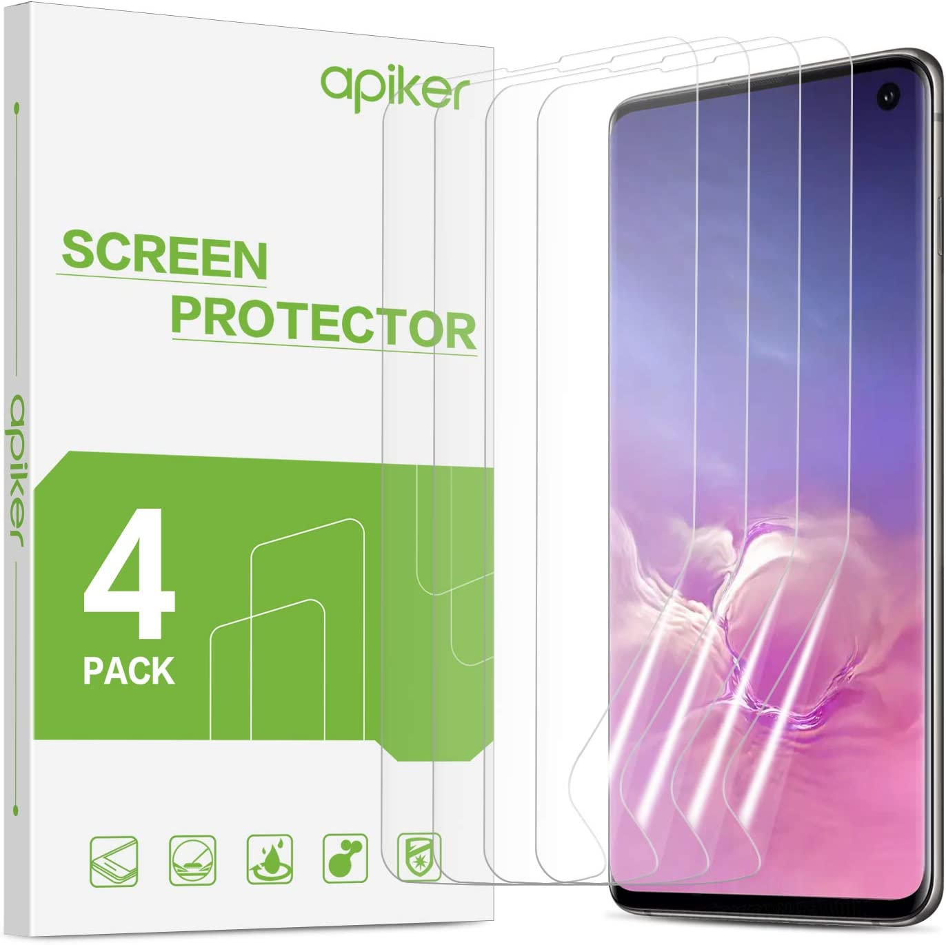 [4 Pack] Screen Protector for Galaxy S10, apiker Upgraded Full Coverage Screen Protector for Samsung Galaxy S10 - HD Clear Film, Case Friendly