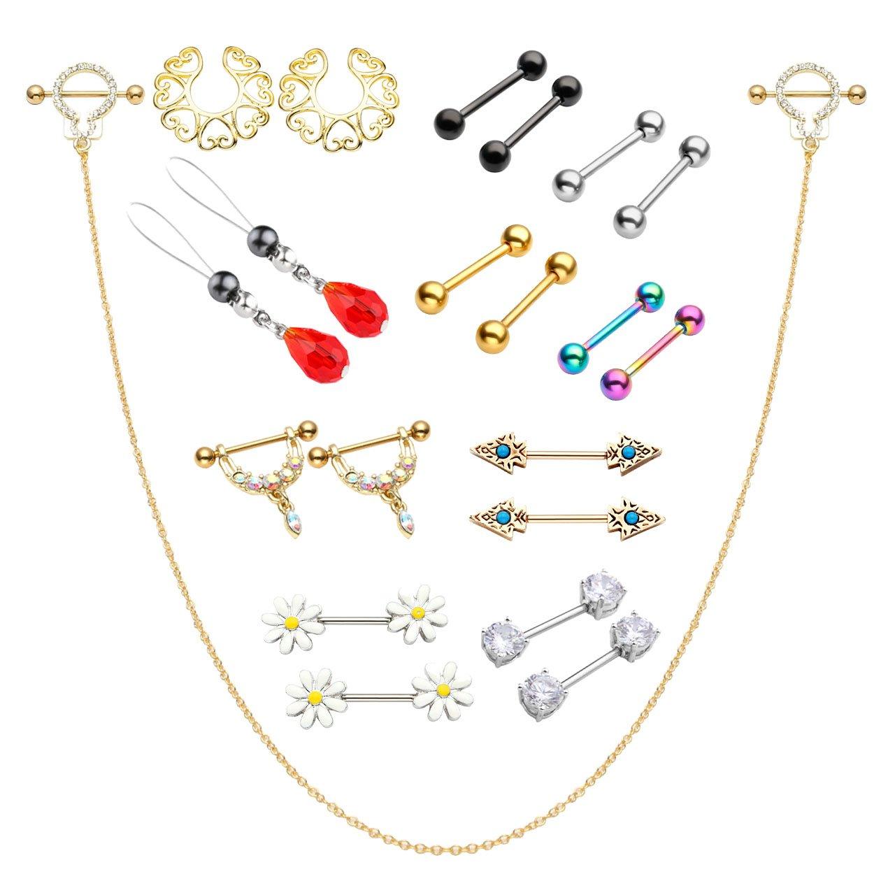BOPREINA 12/21/27/30Pcs 14G Nipple Rings Body Piercing kit Barbell Crystal CZ Nipple Shield Classical Bar Rings in a Organizer Box