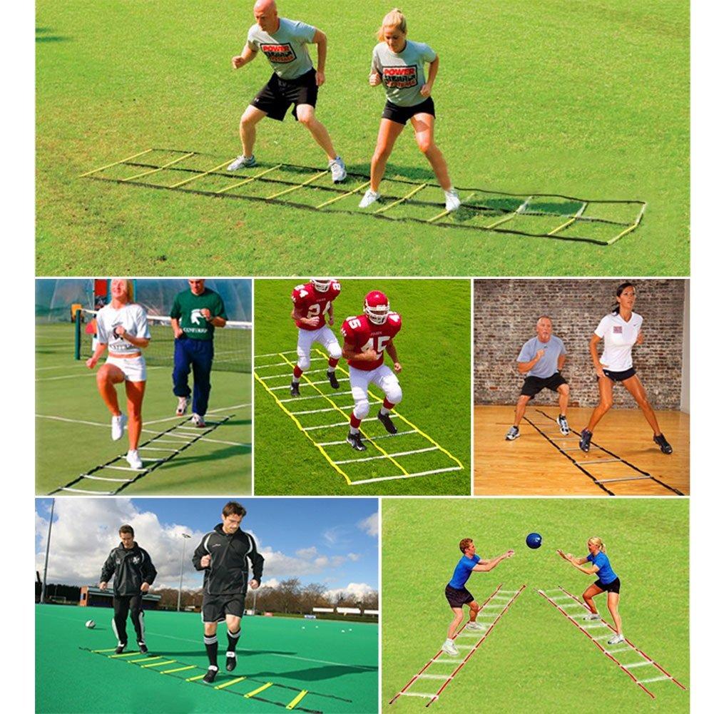 Kit di Scaletta di Addestramento di Agilit/à di Velocit/à 12 Piatti Regolabile e 20 Coni di Allenamento con Maniglia di Trasporto per Calcio