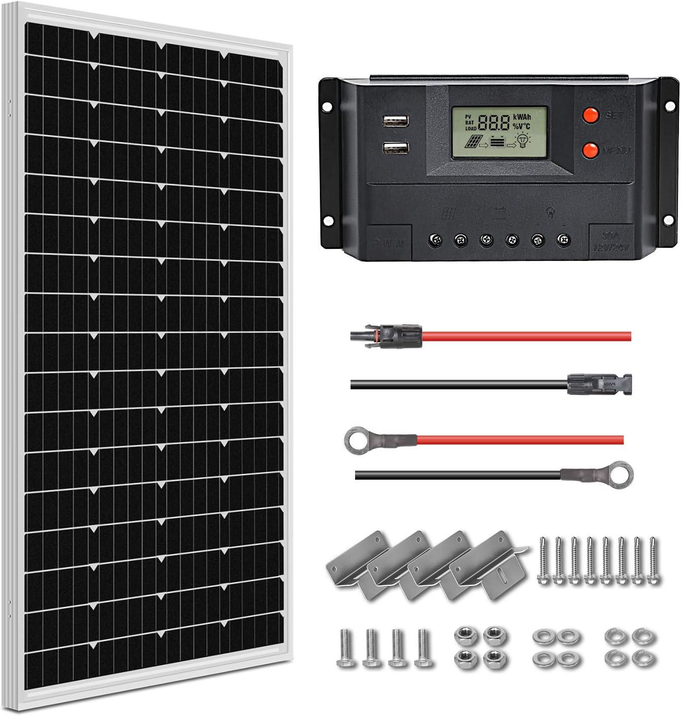WEIZE 100 Watt 12-Volt Solar Panel Starter Kit