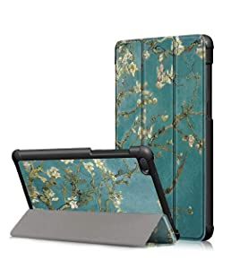 """Lenovo Tab E7 Case, USTY Ultra Slim Lightweight PU Leather Trifold Shell Stand Shockproof Cover for Lenovo Tab E7 (TB-7104F) 7.0"""" Tablet 2018 Release, Blossom"""