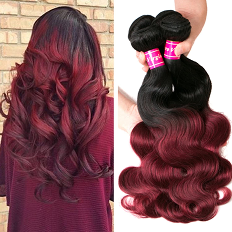 16 18 20 22 Aphro Hair Brazilian Ombre Virgin Hair 4 Bundles Human Remy Hair Extensions Body Wave 1B/99J