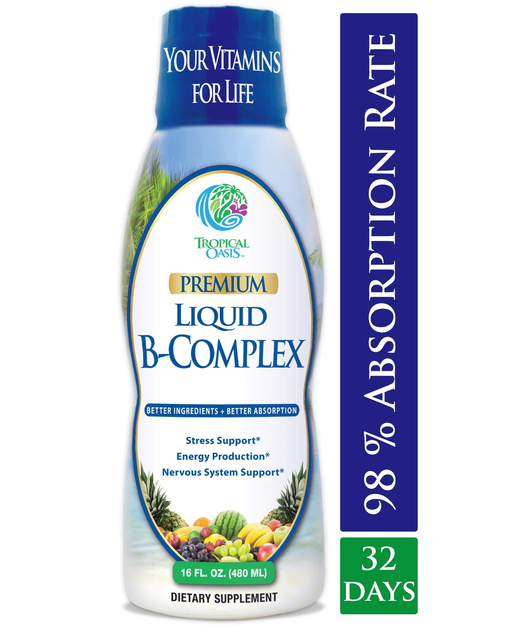 Premium Liquid B Complex Vitamin- Fast Absorbing Liquid B-Complex Supplement w/ all 8 B-vitamins, PLUS energizing herbal blend w/ Ginseng, Ginkgo, and Eleuthero Root - Vegan, NON-GMO - 16oz, 32 Serv by Tropical Oasis