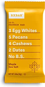 RXBAR, Maple Sea Salt, Protein Bar, 1.83 Ounce (Pack of 12) Breakfast Bar, High Protein Snack