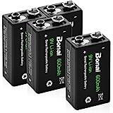 Bonai 9V 6F22 Rechargeable Batteries 600mAh Ultra-Efficient Lithium-ion Batteries, 4 Pack