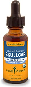 Herb Pharm Certified Organic Skullcap Liquid Extract for Nervous System Support, Alcohol Free Glycerite, 1 Ounce
