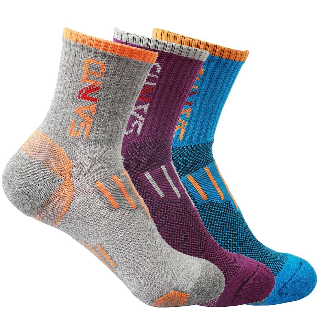 Women Crew Socks for Running Trekking Hiking Biking Climbing Quick Drying Breathable Athletic Sport Socks 3 Pairs(<7 US Size)