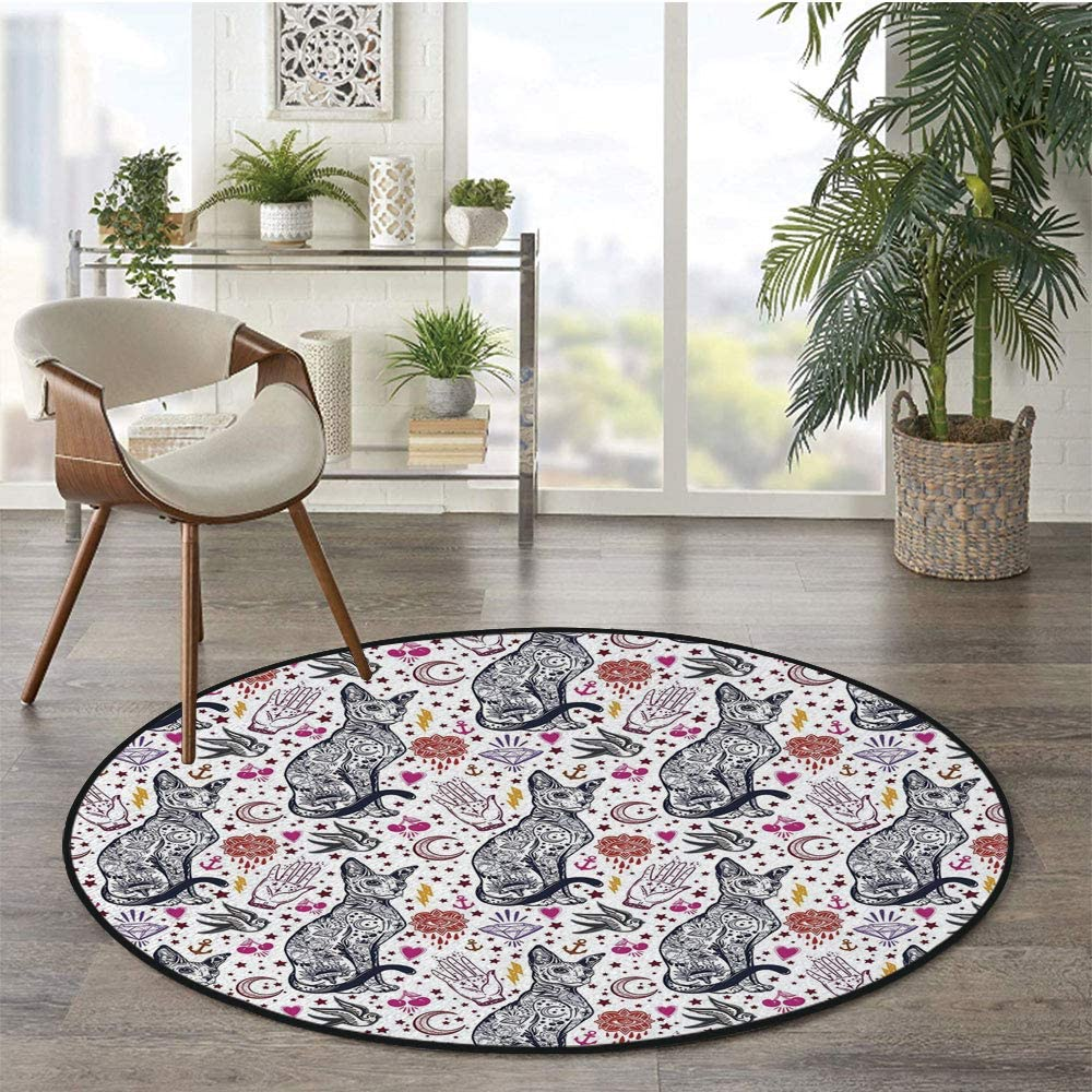 36 x 72 Half Round Door Mat,Retro Design Windrose with Anchor and Chains Marine Elements of Navigation Decorative Outdoor//Indoor Entry Rug,for Home Kitchen Office Standing Desk Mats,Forest Green Red